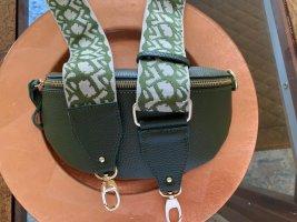Olivgrüne Leder Bauchtasche Umhängetasche mit 2 Riemen neu