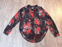 Only Bluse 36 S transparent grau rot Blumen