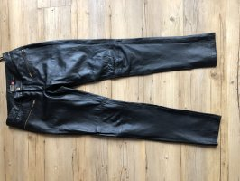 Only Leather Trousers black-gold-colored leather