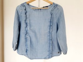 Only Blouse en jean bleu azur coton
