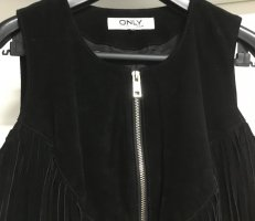 Only Leather Vest black suede