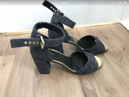 Onyx Abendschuhe grau Soft Filt gold 41 Blockabsatz Sandalen
