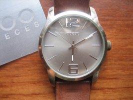 OOZOO Timepieces C6708 Armbanduhr silber grau mit braunem Lederarmband