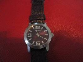 Oozoo Watch With Leather Strap black-silver-colored leather