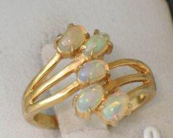 Opal gold 925 Silber Design Ring 5 funkelnde ovale Cabochons