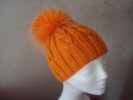 orange Mütze mit echtem Fellbommel NEU!
