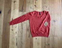 1982 Pull col en V rouge clair coton