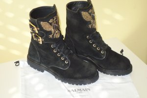 Balmain Lace-up Booties black-gold-colored