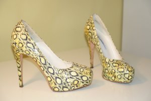 Brian Atwood Platform Pumps yellow-dark brown leather