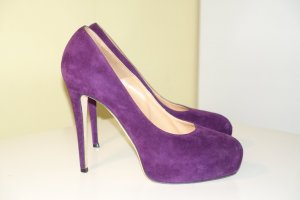 Brian Atwood Platform Pumps brown violet leather