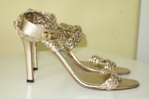 Brian Atwood Strapped High-Heeled Sandals gold-colored leather