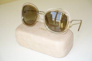 Chloé Gafas de sol redondas color oro-marrón arena