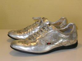 Org. GUCCI Sneaker mit Monogram Gravur Leder silber metallic Gr.37,5