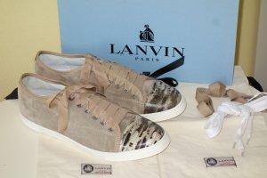 Org. LANVIN Sneaker aus Veloursleder mit geprägten Reptilien-Kappen NEU Gr.40