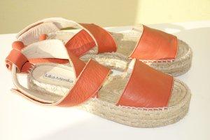 Org. LIKA MIMIKA Espadrilles Sandaletten aus Leder in orange Gr.38