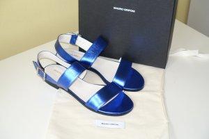 Org. MAURO GRIFONI Sandalen aus Leder in metallic blau Gr.36 Neu+Karton