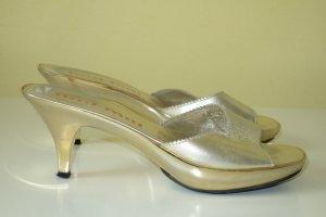 Org. MIU MIU Sandaletten mit Metallabsätzen gold Gr.38