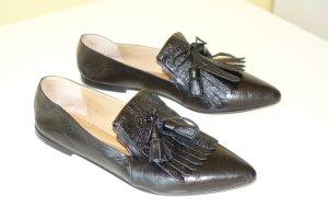 Pomme d'Or Ballerina's met kant zwart Leer