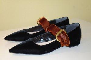 Org. PRADA flache Samt-Schuhe mit Spitze und seitlichen Spangen bicolour Gr.38,5 wie neu