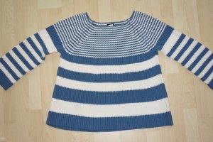 Reken Maar Pullover a maglia grossa bianco sporco-blu acciaio Cotone