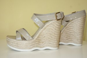 Org. SAINT LAURENT Saint Malo Plateau Wedge Sandaletten in beige Gr.39