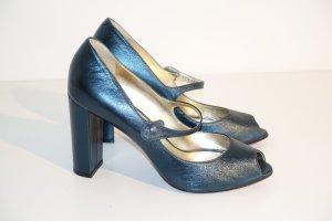 Scho Shoes Milano Tacones con punta abierta petróleo Cuero