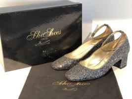 Org. SCHO SHOES Milano Mary Janes mit Glitter Silber 38 Neu+Karton