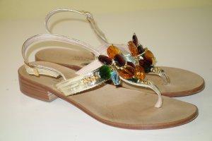 Sandalias con talón descubierto color oro-marrón claro Cuero
