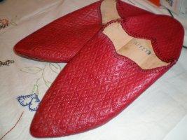 Zuecos rojo ladrillo Cuero