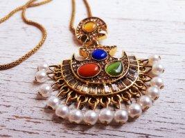 Orientalische Vintage lange bunte Bronze Halskette