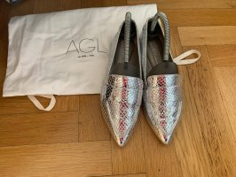 AGL Foldable Ballet Flats silver-colored leather