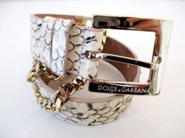 Dolce & Gabbana Ceinture de taille doré-beige cuir