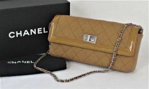 Orig. Chanel Handtasche aus gestepptem Jersey und braunem Lackleder/HERVORRAGEND!