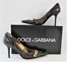 """Orig. Dolce & Gabbana """"Black Label"""" Ponyhaar-Fell-Pumps/ Leder/ Schwarz-Braun/Leomuster Braun/Gr.36.5/ HERVORRAGEND!"""