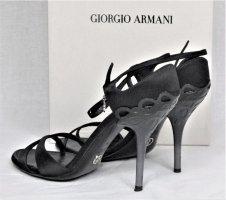 Orig. Giorgio Armani Sandalen/ Schwarz-Grau/ Textil-Leder/ HERVORRAGEND!