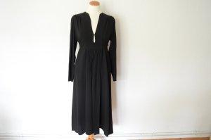 Orig. PRADA Couture schwarzes Blusenkleid IT40 D34 Midikleid mit Gürtel Kleid