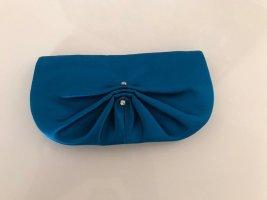 orig. YSL Yves Saint Laurent Clutch Seide Satin blau Swarovski crystal