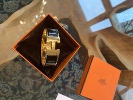 Original 100% Hermes Armreif Clic Clac schwarz Gold Gr.GM - 2 cm