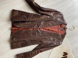 MOj 77 Blazer de cuero marrón-negro Cuero
