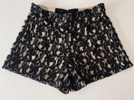 Alice + Olivia Shorts negro-color oro Cordón