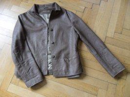 Annette Görtz Leather Jacket light brown-taupe leather