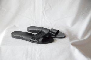 ORIGINAL bally Pantoletten in Gr. 35,5, schwarzes Leder mit animal Prägung,