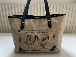 """Original Bvlgari """"S. Bulgari"""" Tote Tasche aus Canvas in Beige und Braun"""
