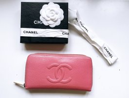 Chanel Portefeuille rouge framboise cuir