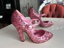 Original Dolce & Gabbana 38,5 Pailletten Pumps Rosa pink