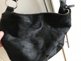 Original FURLA Tasche Leder und Fell, schwarz