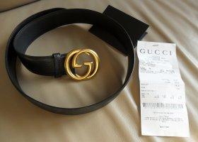 Gucci Cinturón de cuero negro-color oro Cuero