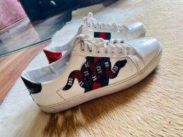Original Gucci Leder  Sneaker Turnschuhe Schnürschuhe weiß rot grün Schlangen Gr 40