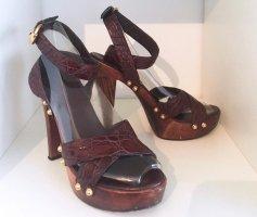 Original Gucci Pumps High Heel Leder Sandale Gr 37 Braun Goldene Nieten