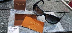 Gucci Owalne okulary przeciwsłoneczne ciemnobrązowy-ciemnoniebieski